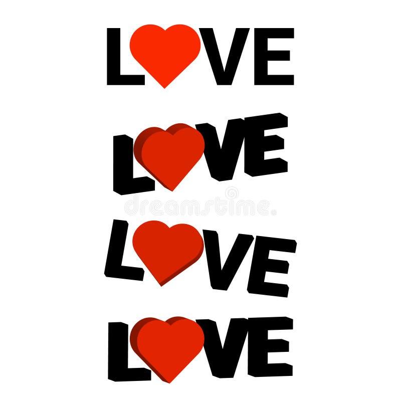 Ordförälskelse med röd hjärta Abstrakt bakgrund för text, typ, qu stock illustrationer