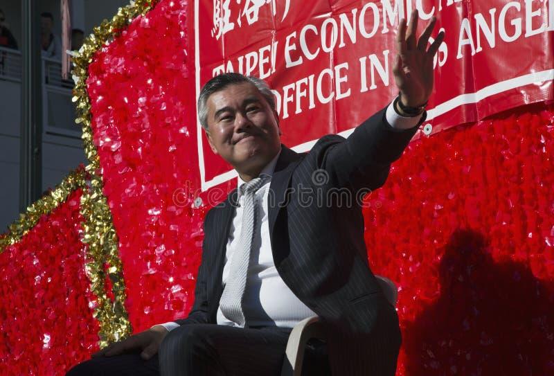 Ordförande K? ng Ch? ½ng för ¿ ng-Chï av Taipei, Taiwan, 115. guld- Dragon Parade, kinesiskt nytt år, 2014, år av hästen, Los-äng royaltyfri bild