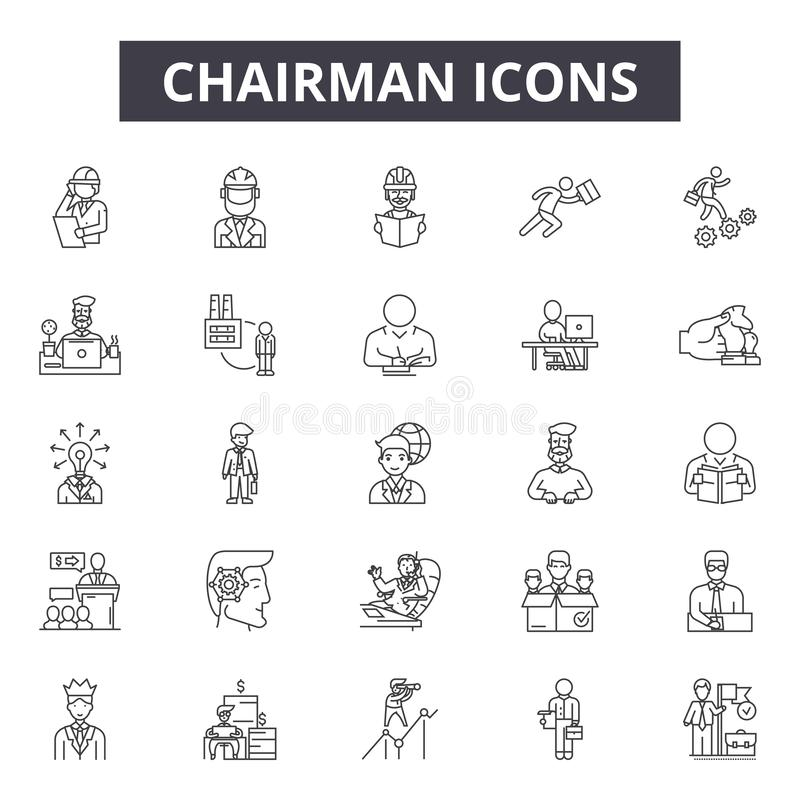 Ordförandelinje symboler, tecken, vektoruppsättning, översiktsillustrationbegrepp royaltyfri illustrationer