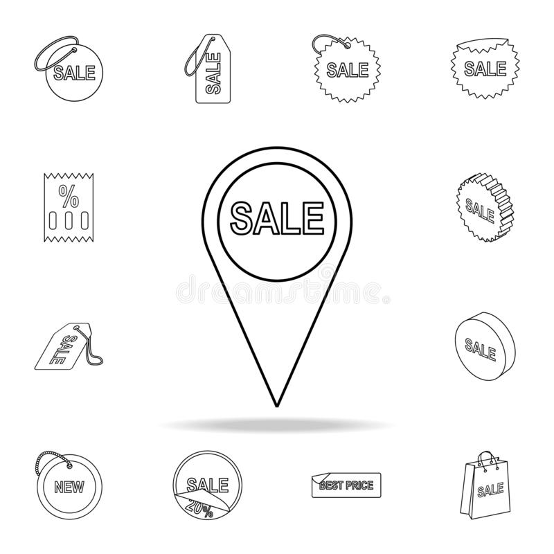 ordförsäljningar i stiftsymbol Detaljerad uppsättning av utförsäljningsymboler Högvärdig grafisk design En av samlingssymbolerna  stock illustrationer