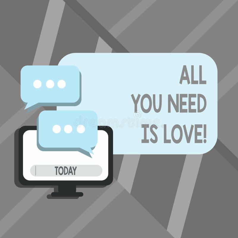 Ordhandstilall text som du behöver, är förälskelse Affärsidéen för djup affektion behöver gillanderoanalysisce vektor illustrationer