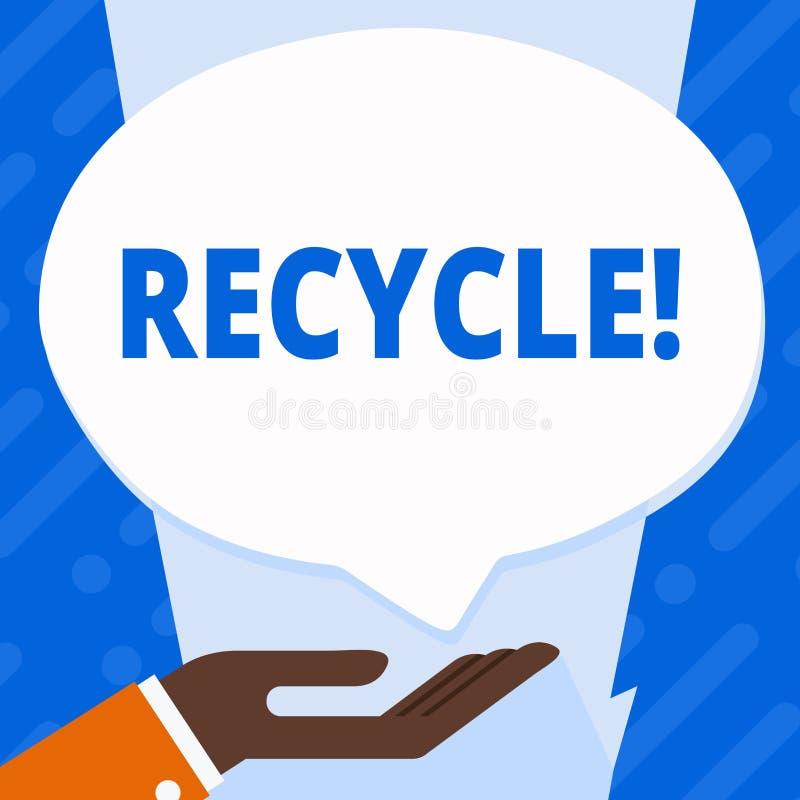 Ordhandstiltext återanvänder Affärsidé för att konvertera avfalls in i återvinningsbart material stock illustrationer