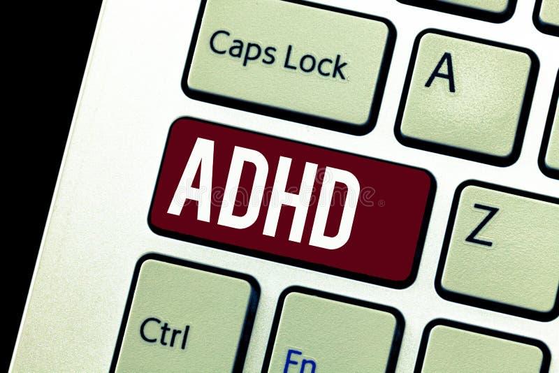 Ordhandstiltext Adhd Affärsidé för mental hälsaoordning av hyperaktivt problem för barn som betalar uppmärksamhet royaltyfria foton