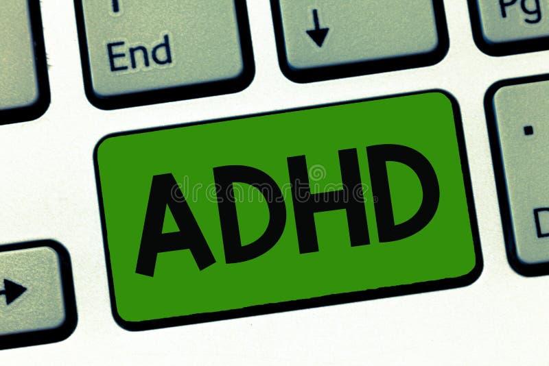 Ordhandstiltext Adhd Affärsidé för mental hälsaoordning av hyperaktivt problem för barn som betalar uppmärksamhet royaltyfria bilder