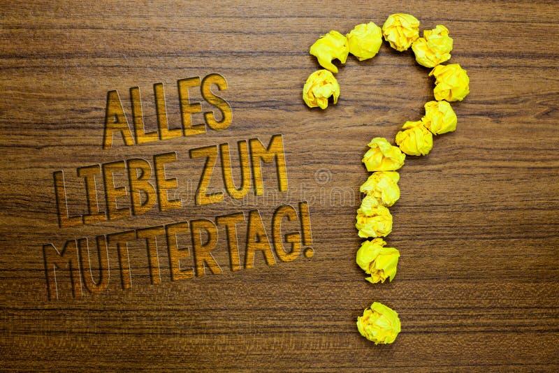 Ordhandstiltext Alles Liebe Zum Muttertag Affärsidé för trägolv för lycklig för moderdag för förälskelse affektion för gratulatio royaltyfri bild