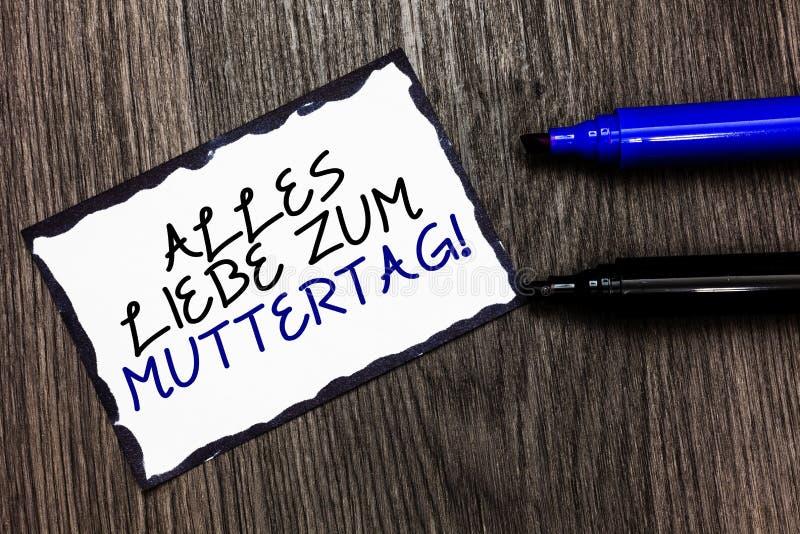 Ordhandstiltext Alles Liebe Zum Muttertag Affärsidéen för lycklig svart för affektion för gratulationer för förälskelse för moder arkivfoto