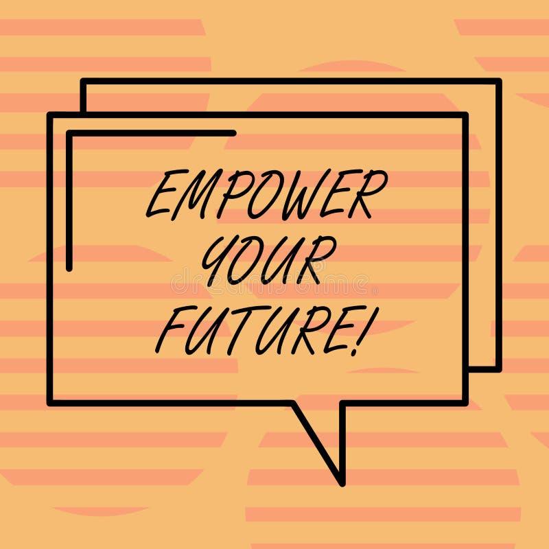 Ordhandstiltext att bemyndiga din framtid Affärsidé för karriärutveckling och anställningsbarhetprogramhandbok stock illustrationer