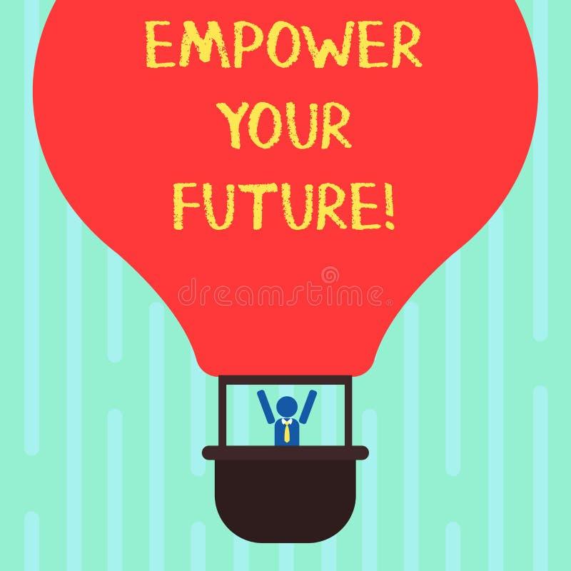 Ordhandstiltext att bemyndiga din framtid Affärsidé för karriärutveckling och anställningsbarhetprogramhandboken Hu stock illustrationer