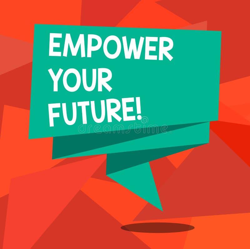 Ordhandstiltext att bemyndiga din framtid Affärsidéen för karriärutveckling och anställningsbarhetprogramhandbok vek royaltyfri illustrationer
