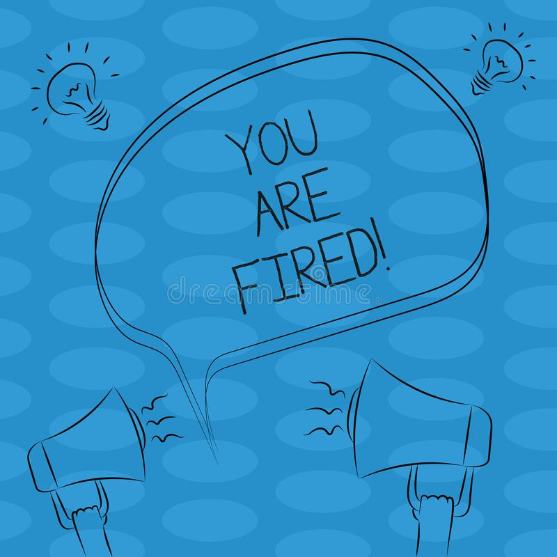 Ordhandstiltext avfyras du Affärsidé för att få ut från jobbet och att bli arbetslöst för att inte avsluta den frihandskarriären stock illustrationer