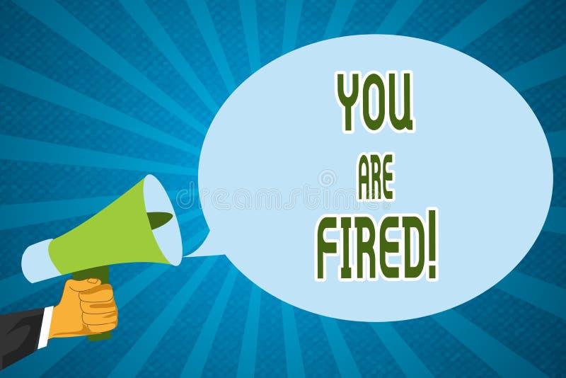 Ordhandstiltext avfyras du Affärsidé för att få ut från jobbet och det blivna arbetslösa inte slutet karriären royaltyfri illustrationer