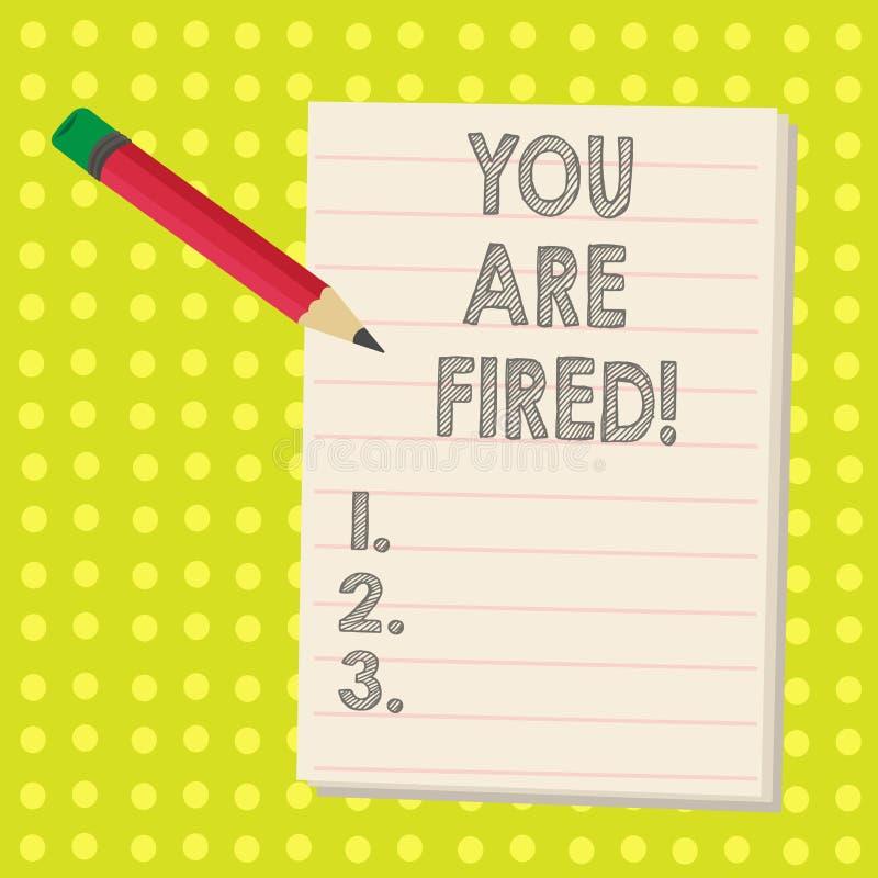 Ordhandstiltext avfyras du Affärsidé för att få ut från jobbet och det blivna arbetslösa inte slutet karriären stock illustrationer