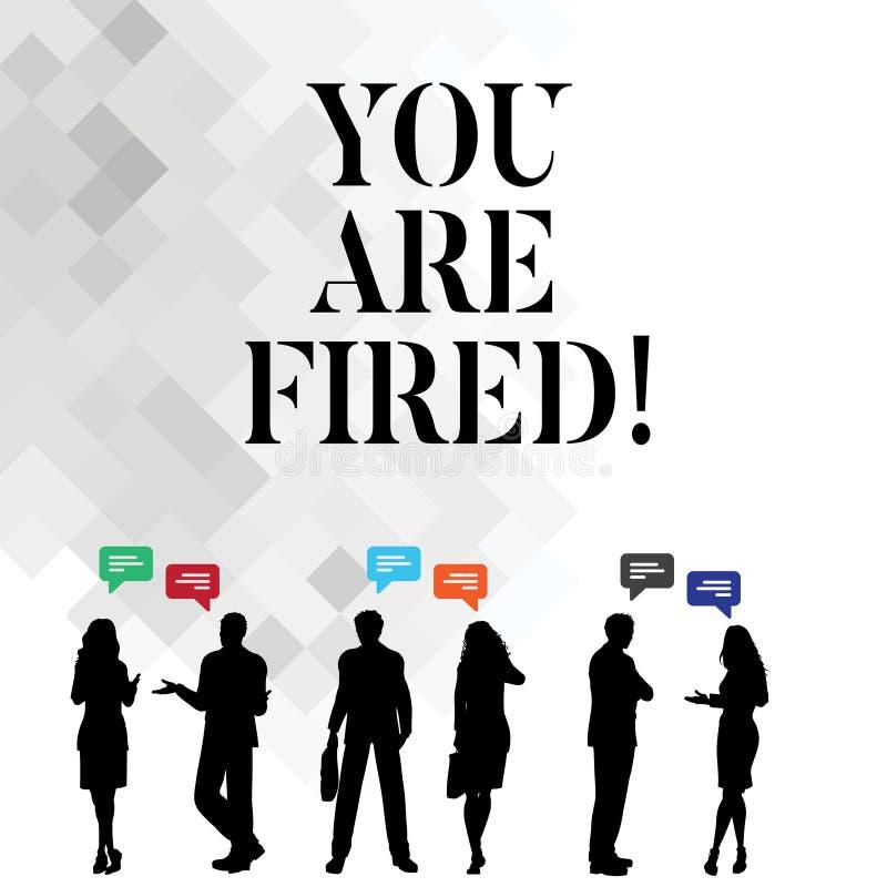 Ordhandstiltext avfyras du Affärsidé för att få ut från jobbet och det blivna arbetslösa inte slutet karriären vektor illustrationer
