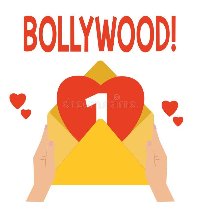 Ordhandstiltext Bollywood Affärsidé för indisk populär Mumbai för filmfilmbransch filmkonst royaltyfri illustrationer
