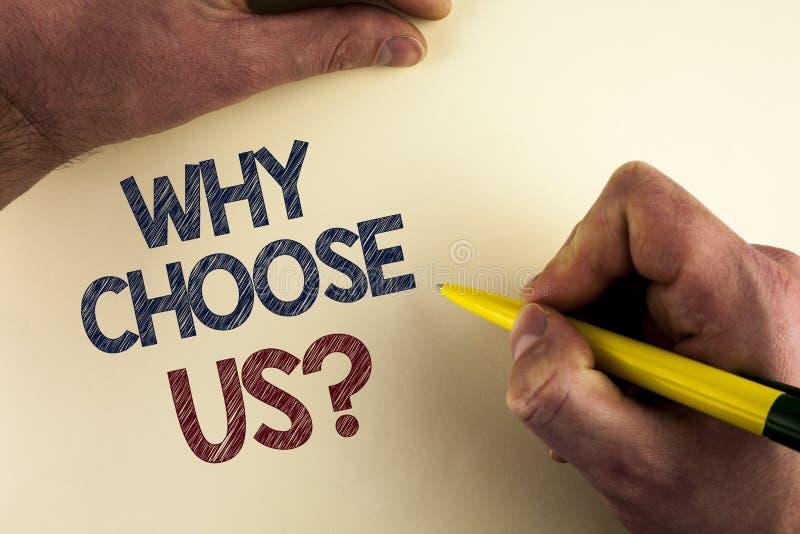 Ordhandstiltext därför välj oss frågan Affärsidé för att anledningar ska välja på våra serviceprodukter eller erbjudanden som är  arkivbild