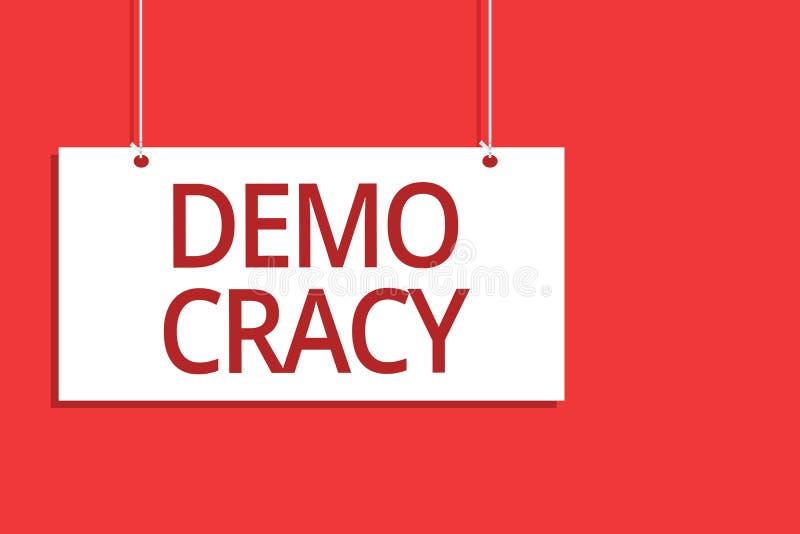 Ordhandstiltext Demo Cracy Affärsidé för frihet av folket som uttrycker deras känslor och troar som hänger brädemessa vektor illustrationer