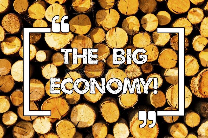 Ordhandstiltext den stora ekonomin Affärsidéen för globala finanser marknadsför över hela världen det trähandelpengarutbytet arkivbilder