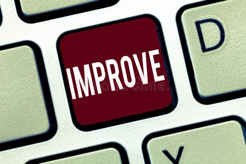 Ordhandstiltext förbättrar Affärsidéen för Make blir bättre utvecklingsförhöjningkapacitetar växer ändring arkivbild