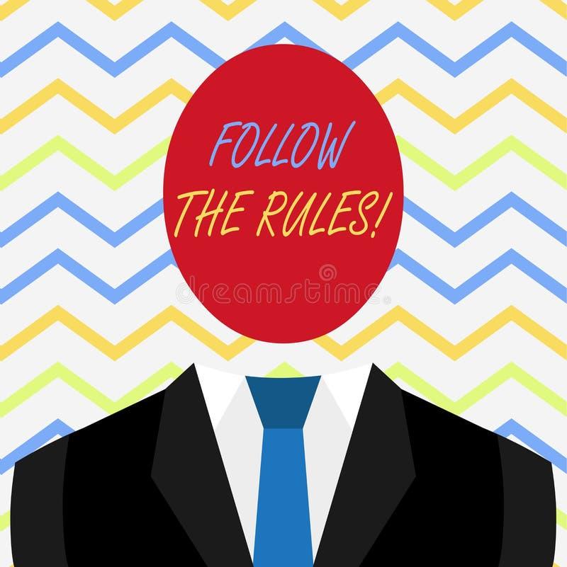 Ordhandstiltext f?ljer reglerna Aff?rsid?en f?r g?r med reglemente som reglerar uppf?rande eller tillv?gag?ngss?tt vektor illustrationer