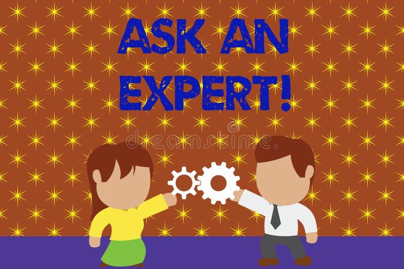 Ordhandstiltext fr?gar en expert Aff?rsid? f?r bekr?ftelse som har l?st f?r att f?rst? och inst?mma med anvisningar vektor illustrationer