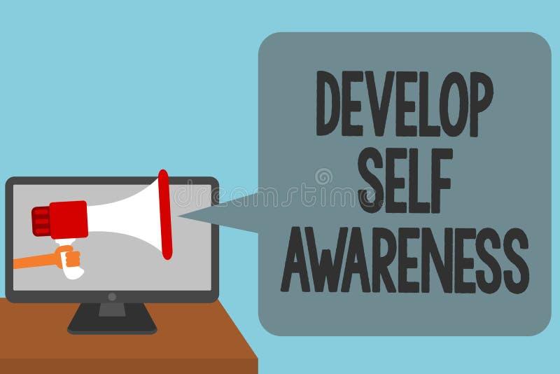 Ordhandstiltext framkallar självmedvetenhet Affärsidéen för medveten kunskap för förhöjning av eget alarmera för tecken framför i vektor illustrationer