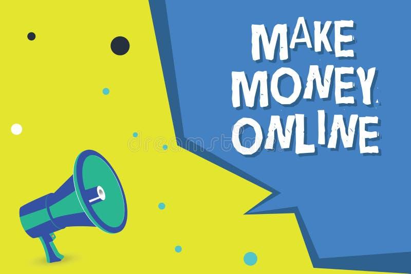 Ordhandstiltext gör pengar online- Affärsidé för Ecommercehandeln som säljer över internetfrilansen vektor illustrationer