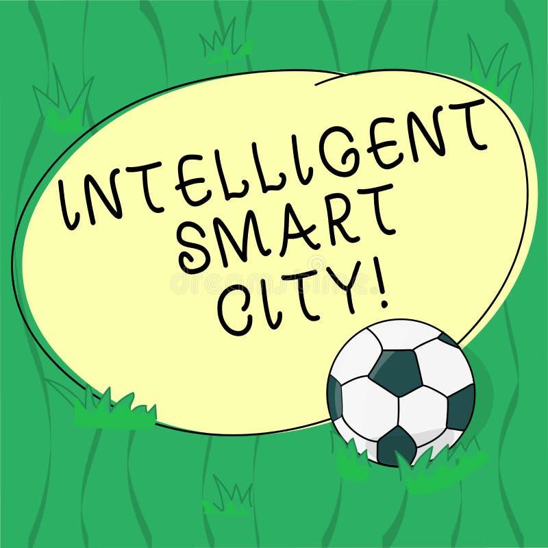 Ordhandstiltext intelligenta Smart City Affärsidé för staden som har en mer smart energiinfrastrukturfotboll royaltyfri illustrationer