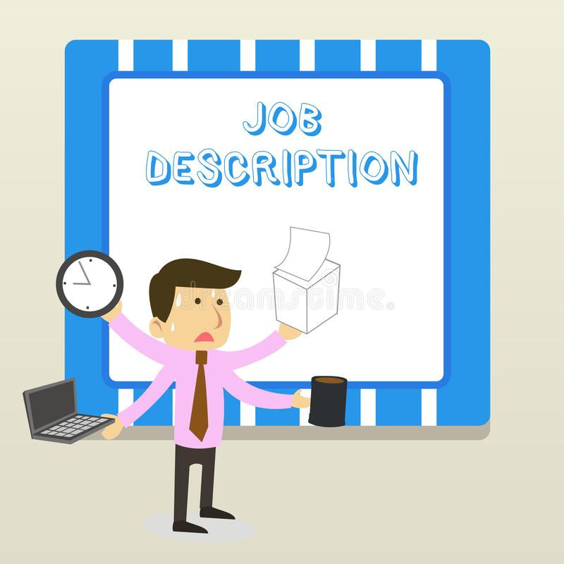 Ordhandstiltext Job Description Affärsidéen för ett formellt konto av anställd s är belastat ansvar vektor illustrationer