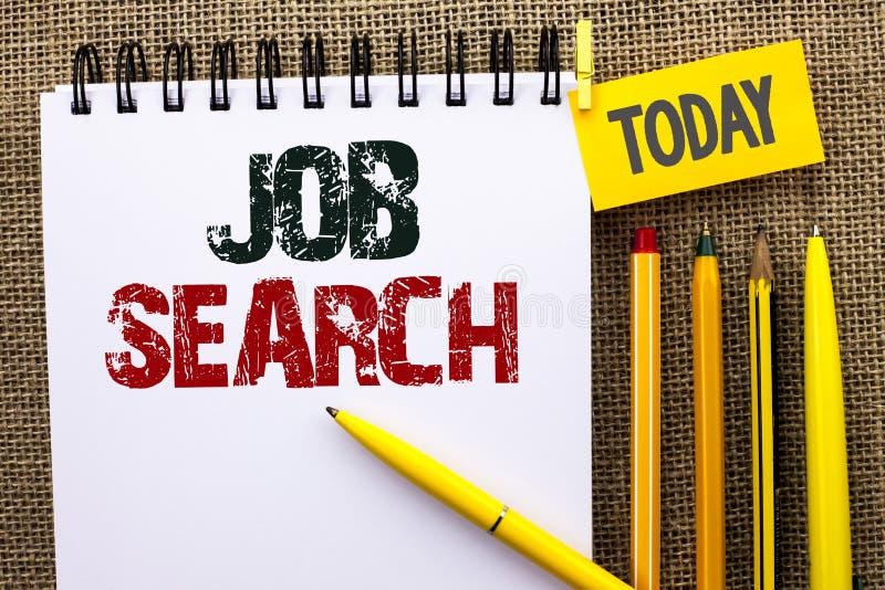 Ordhandstiltext Job Search Affärsidé för rekryt för rekrytering för anställning för tillfälle för fyndkarriärvakans som är skrift arkivfoton