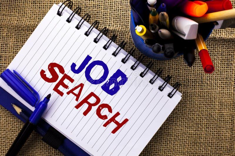 Ordhandstiltext Job Search Affärsidé för rekryt för rekrytering för anställning för tillfälle för fyndkarriärvakans som är skrift fotografering för bildbyråer