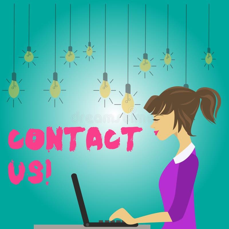Ordhandstiltext kontaktar oss Affärsidé för privata individer eller demonstratingal information som visar stock illustrationer