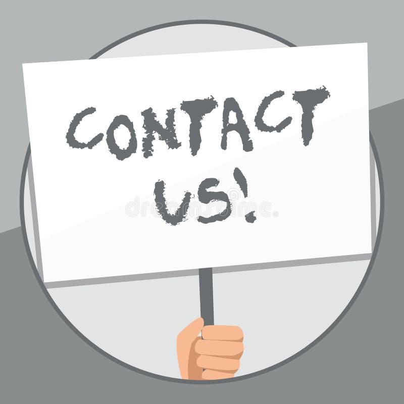 Ordhandstiltext kontaktar oss Aff?rsid? f?r privata individer eller demonstratingal information som visar handen royaltyfri illustrationer