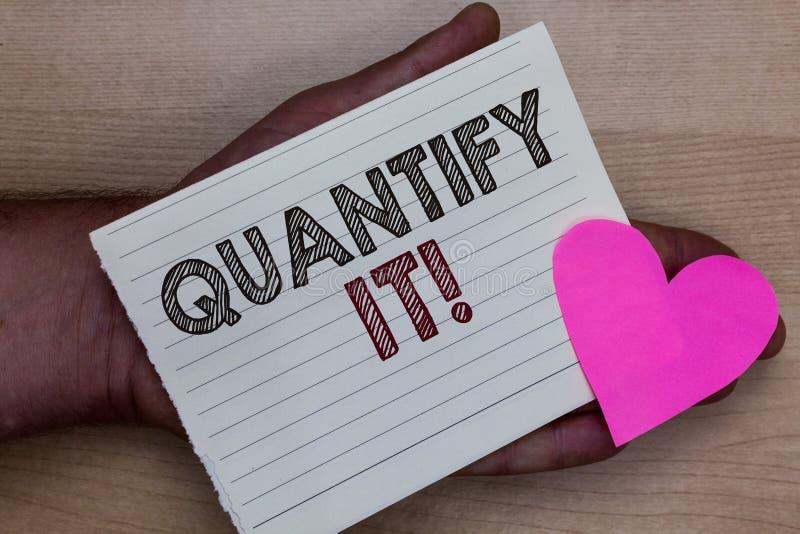 Ordhandstiltext kvantifierar det Affärsidéen för mått formatet eller beloppet av något och uttrycker i hållande paj för nummerman arkivbild