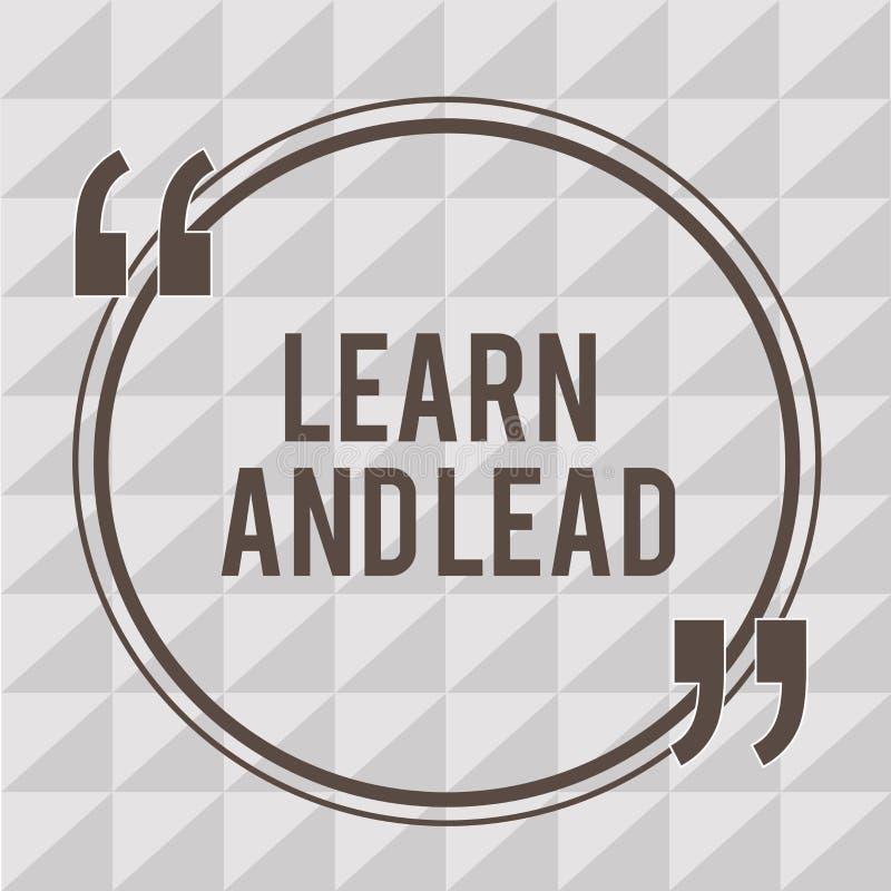 Ordhandstiltext lär och leder Affärsidé för Improve expertisen och knowleadgen som ska passas för ledarskapet stock illustrationer