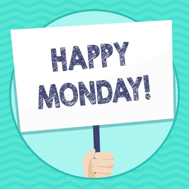 Ordhandstiltext lyckliga måndag Affärsidé för att berätta den visande beställning att önska honom den stora nya veckahanden stock illustrationer