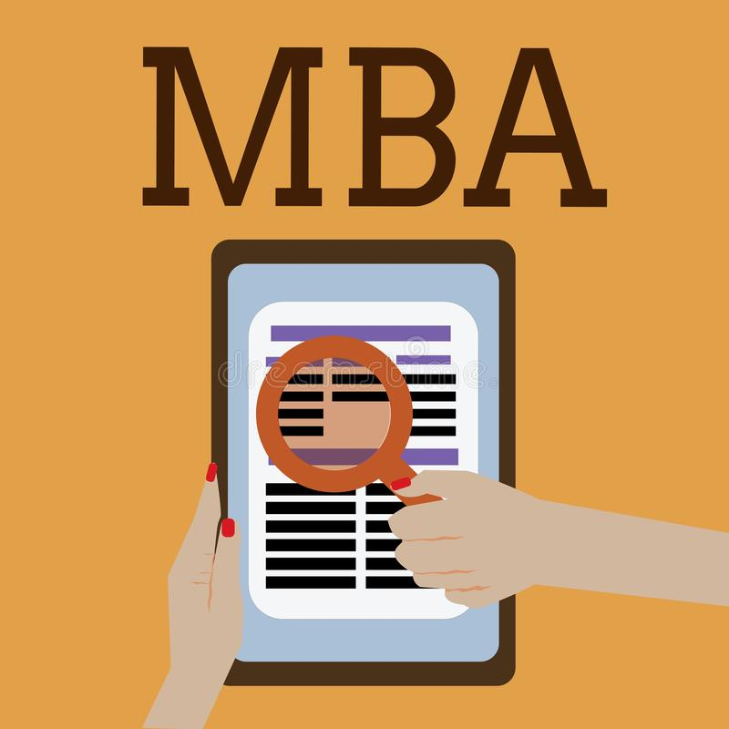 Ordhandstiltext Mba Affärsidé för avancerad grad i affärsfält liksom administration och marknadsföring stock illustrationer