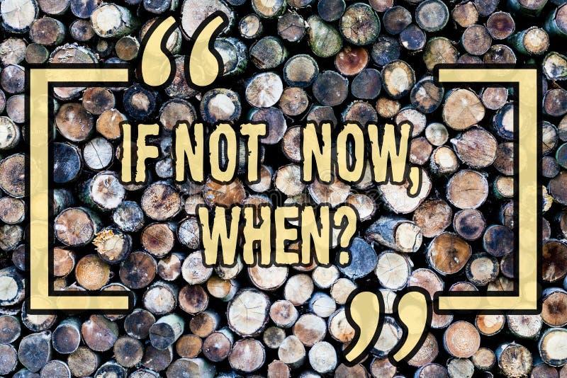 Ordhandstiltext om inte nu Whenquestion Affärsidé för den träbegynnelse- utmaningen för handlingstopptidmål arkivfoton