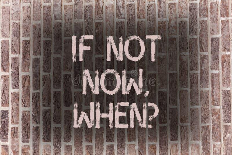 Ordhandstiltext om inte nu Whenquestion Affärsidé för vägg för tegelsten för utmaning för handlingstopptidmål begynnelse- arkivbild