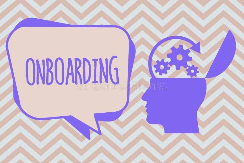 Ordhandstiltext Onboarding Affärsidé för handlingprocess av att integrera ny anställd in i en organisation royaltyfri illustrationer
