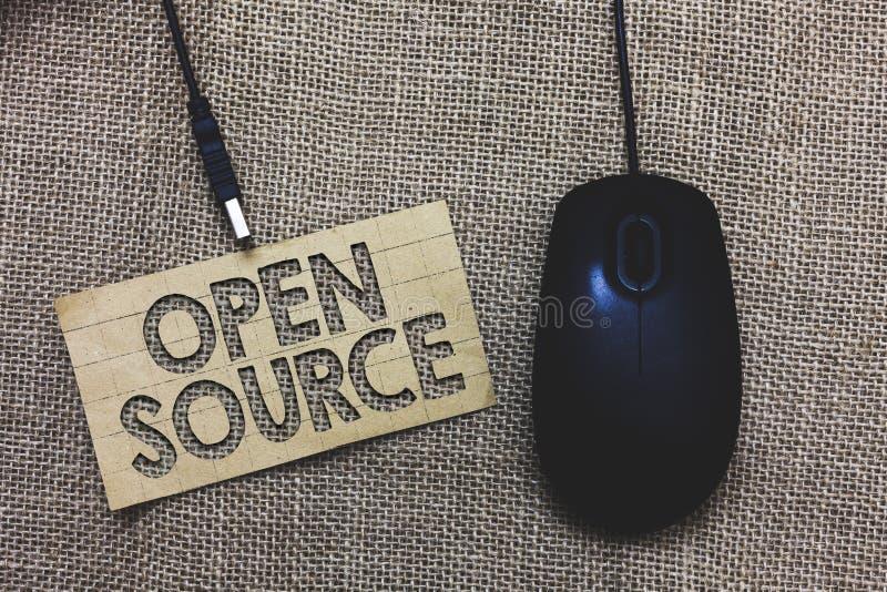 Ordhandstiltext Open Source Affärsidé för beteckning av programvara som original- compu för Paperboard för källkod fritt tillgäng arkivbilder