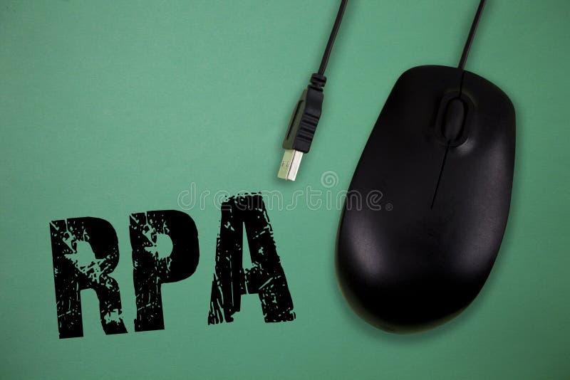 Ordhandstiltext Rpa Affärsidé för bruket av programvara med konstgjord intelligens att göra grundläggande uppgift arkivfoton