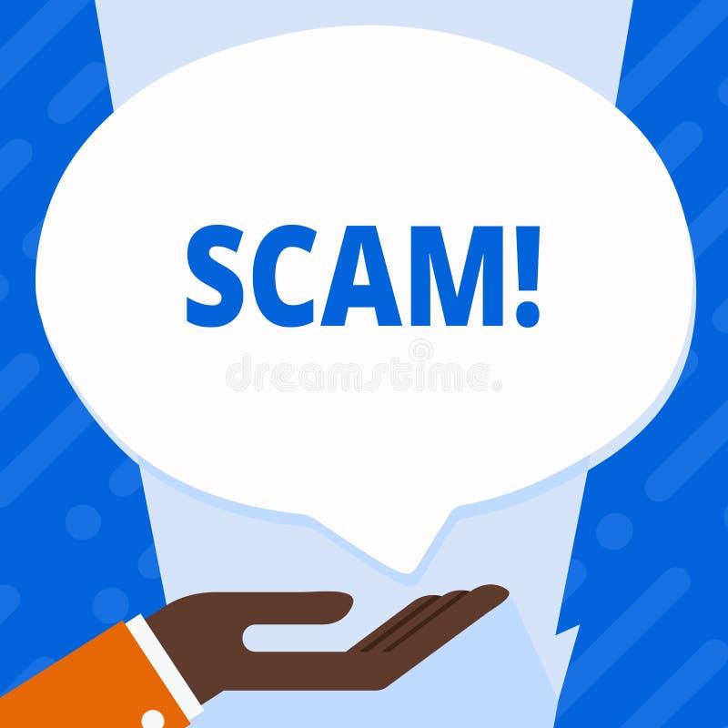 Ordhandstiltext Scam Affärsidé för ohederligt folk för handlingsbedrägeritrick för framställning av pengar stock illustrationer