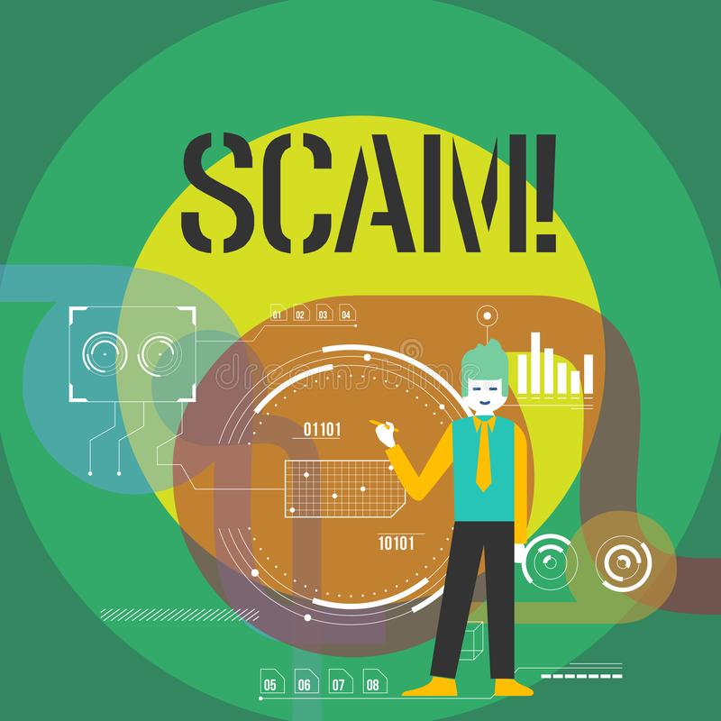 Ordhandstiltext Scam Affärsidé för ohederligt folk för handlingsbedrägeritrick för framställning av pengar royaltyfri illustrationer