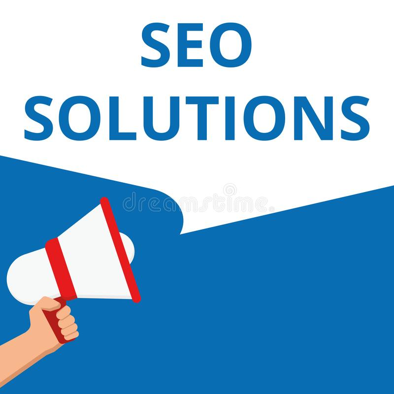 Ordhandstiltext Seo Solutions vektor illustrationer