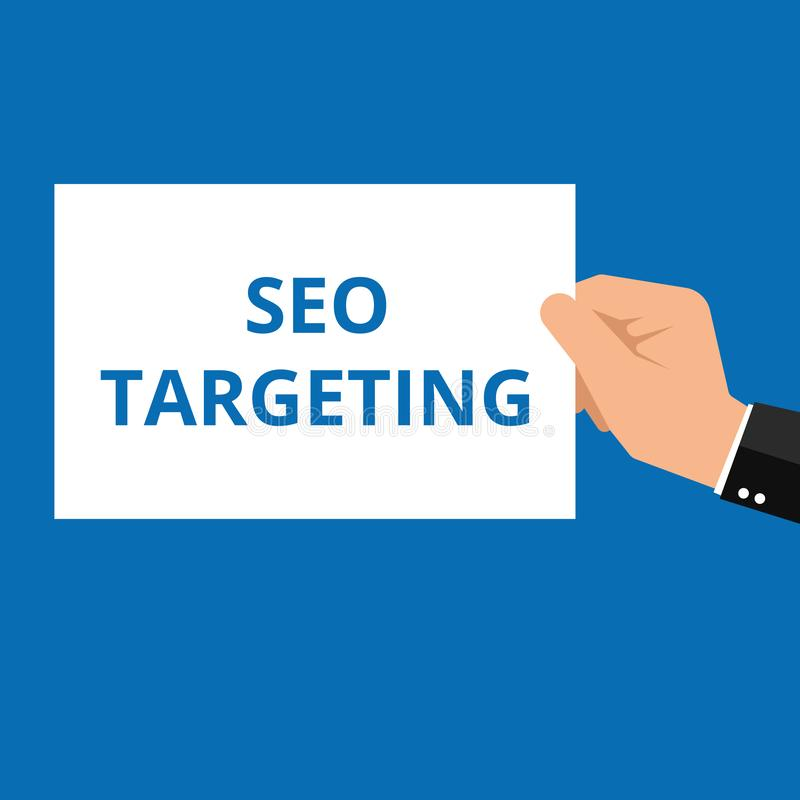 Ordhandstiltext Seo Targeting stock illustrationer