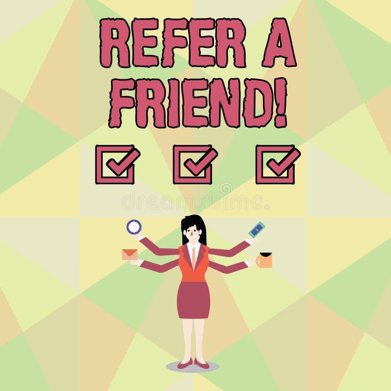 Ordhandstiltext ser en vän Affärsidé för direkt någon till andra eller att överföra honom något som gåvan stock illustrationer