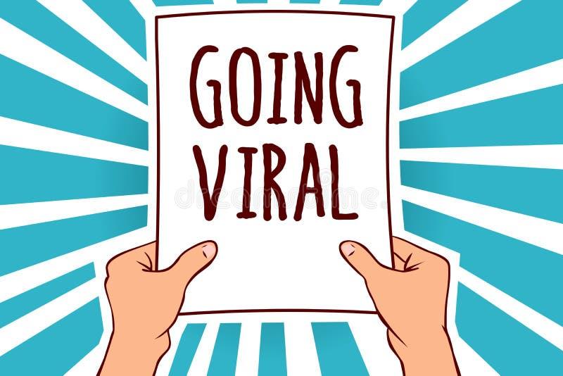 Ordhandstiltext som går virus- Affärsidé för bildvideoen eller sammanlänkningen som fördelar snabbt till och med papper för befol royaltyfri illustrationer