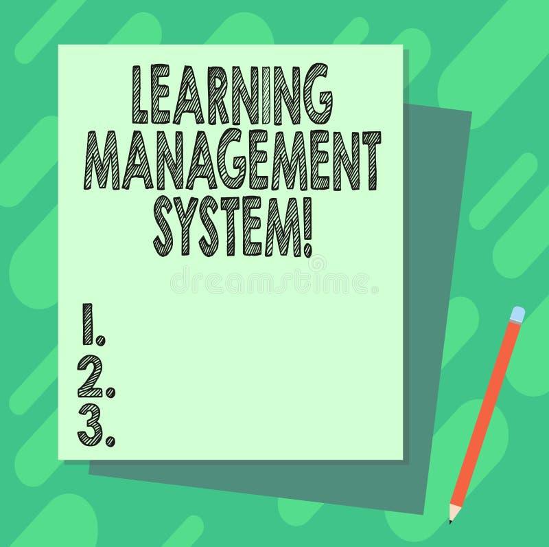 Ordhandstiltext som lär ledningsystemet Affärsidéen för programvaruapplikationen, som är van vid, administrerar bunten stock illustrationer
