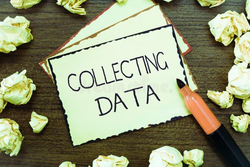 Ordhandstiltext som samlar data Affärsidé för att samla och att mäta information på variabler av intresse royaltyfria foton