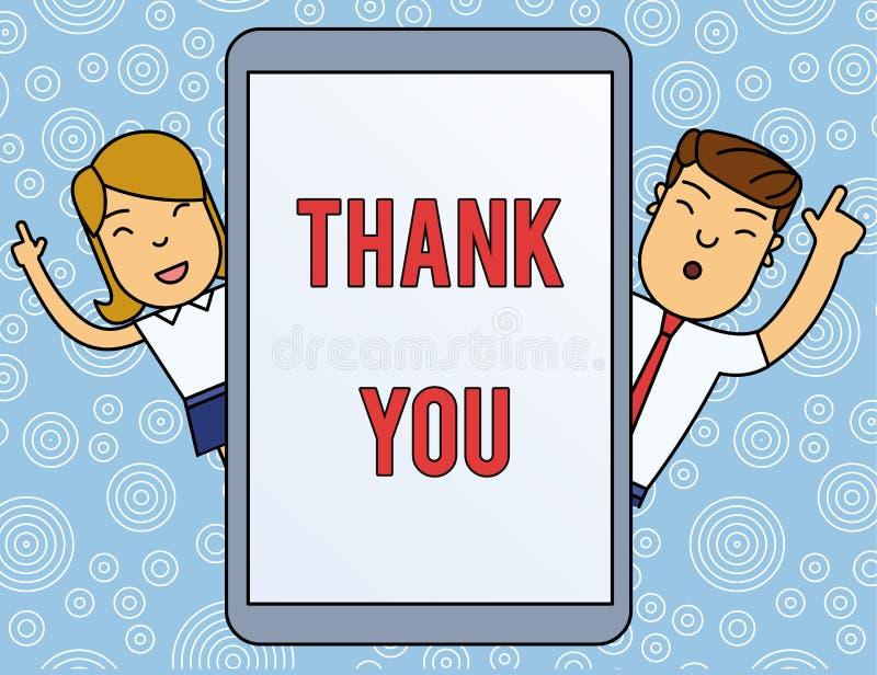 Ordhandstiltext tackar dig Affärsidé för ett använt artigt uttryck, när bekräfta en gåva eller en serviceman och royaltyfri bild